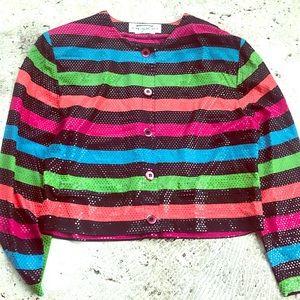 Colorful Sparkly Striped Dress Blazer Jacket